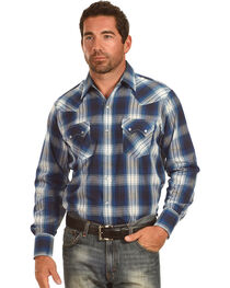 Ely Cattleman Men's Blue Textured Plaid Sawtooth Pockets Snap Shirt, , hi-res