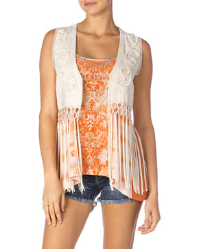 Miss Me Women's Eyelet Lace and Fringe Vest, Cream, hi-res