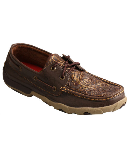 Twisted X Women's Embossed Floral Driving Mocs - Moc Toe, Brown, hi-res