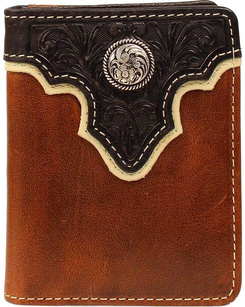 Ariat Black Tooled Overlay Concho Wallet, Brown, hi-res