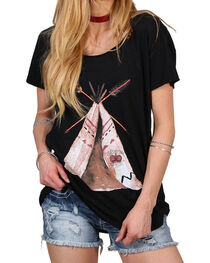 Bohemian Cowgirl Women's Teepee Scoop Neck Tee, , hi-res
