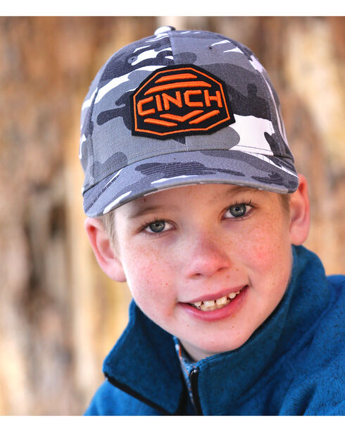 Cinch Boys' Grey Camo Flexfit Ballcap, Black, hi-res