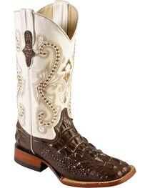 Ferrini Women's Hornback Caiman Print Western Boots, , hi-res