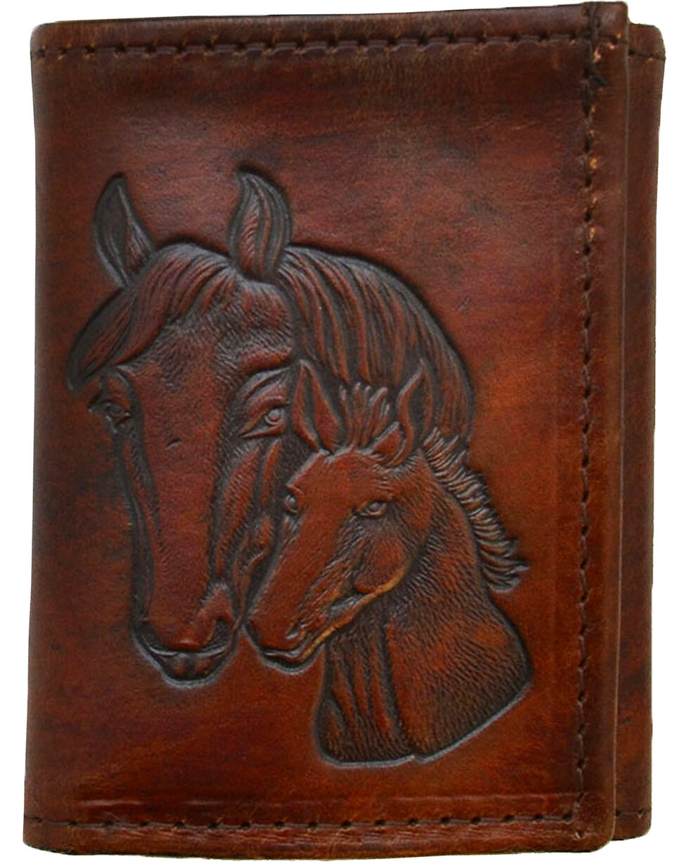 Western Express Men's Brown Horse Tooled Tri-Fold Wallet , Brown, hi-res