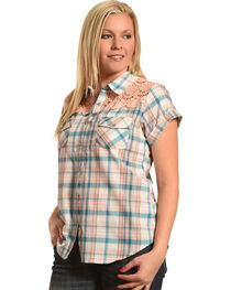Henna Women's Blue Plaid Crochet Western Shirt, , hi-res
