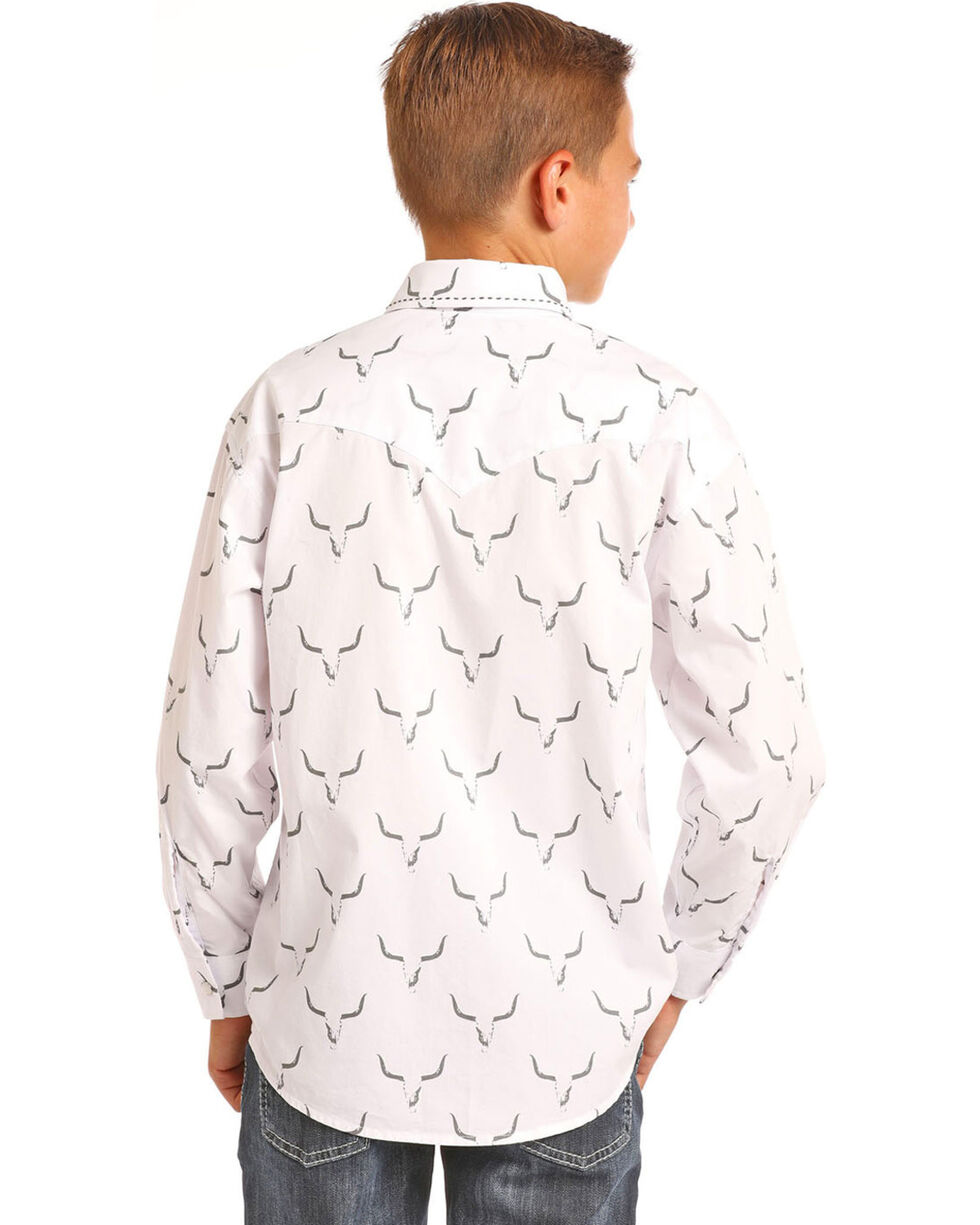 Rock & Roll Cowboy Boys' Steer Skull Long Sleeve Snap Shirt, White, hi-res