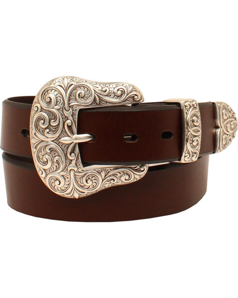 Ariat Women's Silver Scroll Leather Belt, Brown, hi-res