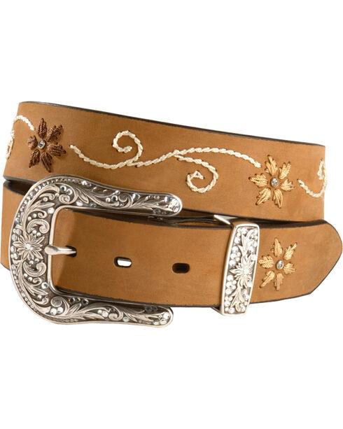 Nocona Floral Stitched Leather Belt - Plus, Brown, hi-res