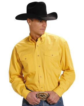 Roper Poplin Western Shirt - Big & Tall, Yellow, hi-res