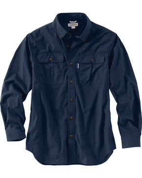 Carhartt Men's Foreman Long Sleeve Work Shirt - Big & Tall, Navy, hi-res