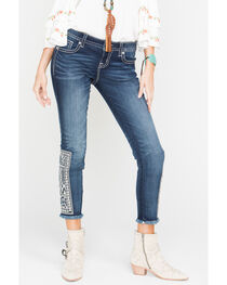 Miss Me Born to Be Boho Ankle Skinny Jeans, , hi-res