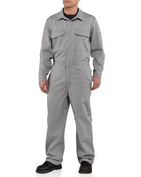 Carhartt Men's Flame Resistant Traditional Twill Coveralls, Grey, hi-res