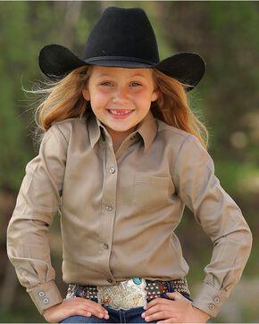 Cruel Girl Girls' Khaki Long Sleeve Button Up Top, Khaki, hi-res