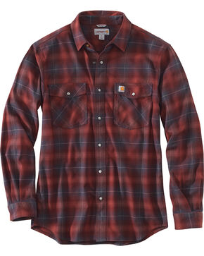 Carhartt Men's Red Rugged Flex Hamilton Snap-Front Plaid Shirt - Tall, Red, hi-res