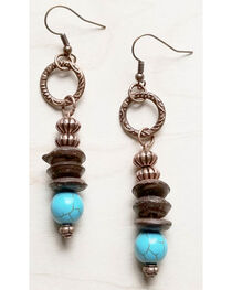 Jewelry Junkie Women's Blue Turquoise and Wood Earrings , , hi-res