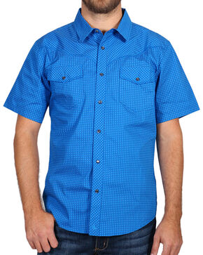Cody James® Men's Printed Western Short Sleeve Shirt, Blue, hi-res