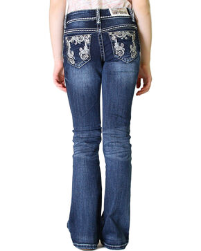 Grace in LA Girls' Dark Wash Scroll Embroidery Bootcut Jeans (4-6X), Indigo, hi-res