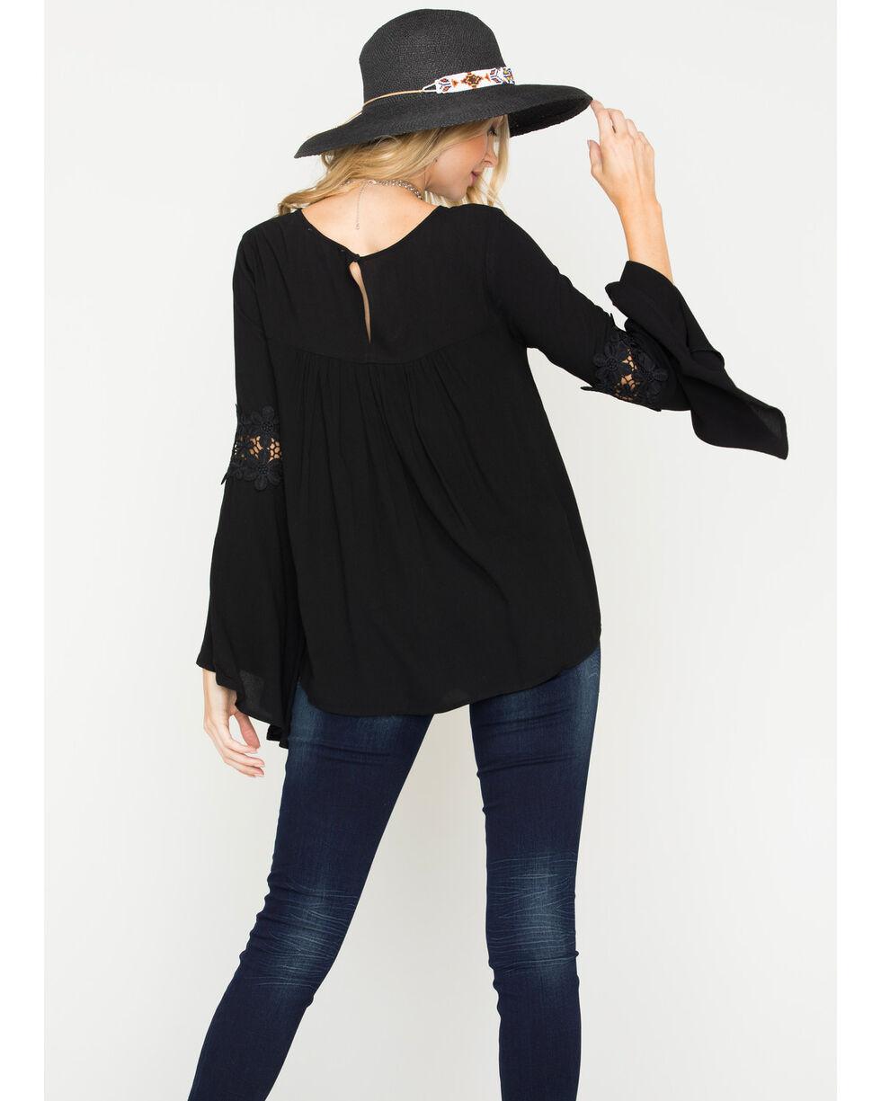 Blush Noir Women's Black Lace Detail Top , Black, hi-res