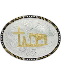 Montana Silversmiths Men's Oval Stop Ties Christian Cowboy Belt Buckle , , hi-res