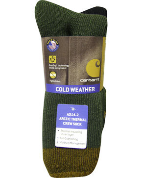 Carhartt Green Arctic Thermal Crew Socks - 2 Pack, Green, hi-res