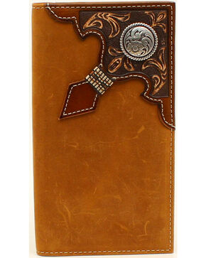 Ariat Men's Rodeo Embossed Overlay Ribbon Round Concho Wallet, Med Brown, hi-res