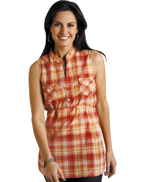 Roper Women's Orange Plaid Sleeveless Tunic, Orange, hi-res