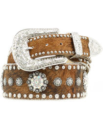 Nocona Hair-on-Hide Spur Rowel Concho Studded Belt, , hi-res