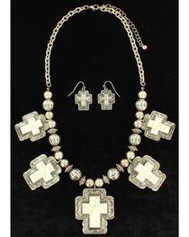 Blazin Roxx Women's White Stone Cross Jewelry Set , , hi-res