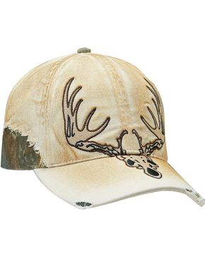 M&F Men's Steer Skull Ball Cap, Tan, hi-res