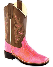 Old West Youth Girls' Sparkling Pink Western Boots - Square Toe , , hi-res