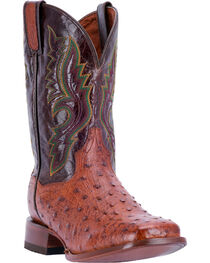 Dan Post Men's Quilled Ostrich Stockman Cowboy Boots - Square Toe, , hi-res