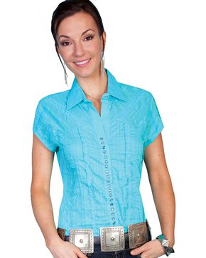 Scully Women's Cap Sleeve Lace Snap Shirt, Turquoise, hi-res