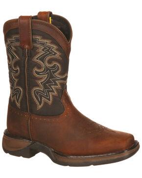 Durango Boys' Little Kid Western Boots - Square Toe, Brown, hi-res