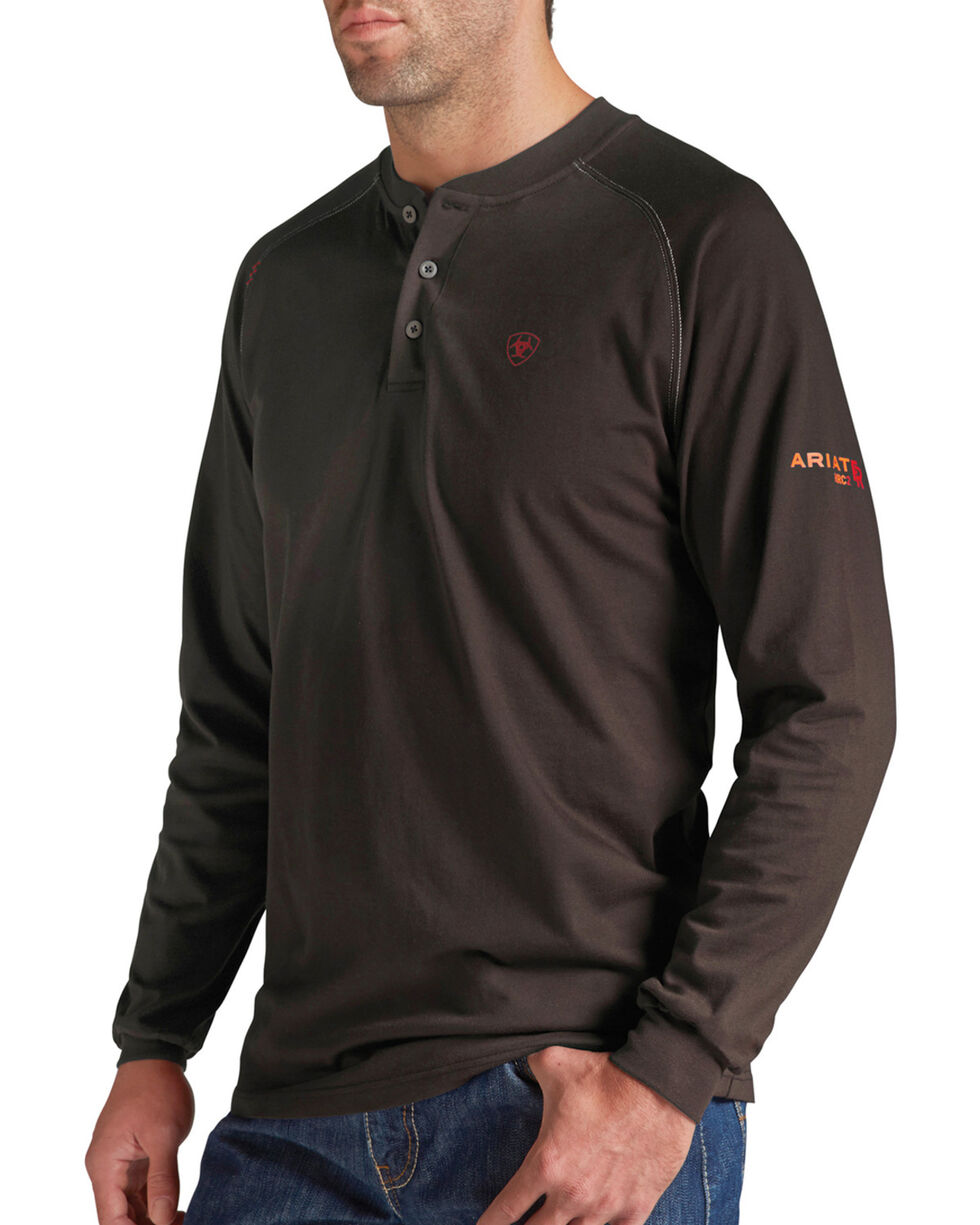 Ariat Men's Flame-Resistant Coffee Bean Henley Work Shirt, Coffee, hi-res