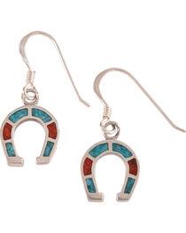 Silver Legends Women's Sterling Silver & Turquoise Horseshoe Earrings, , hi-res
