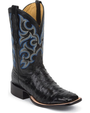 Justin Men's Truman Ostrich Exotic Boots, Black, hi-res