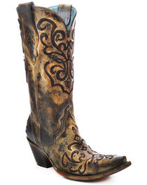 Corral Women's Cord Embroidery and Crystals Western Boots, , hi-res