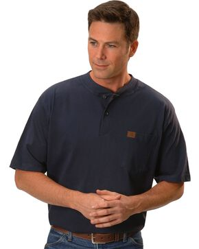 Riggs Workwear Men's Short Sleeve Henley T-Shirt, Navy, hi-res