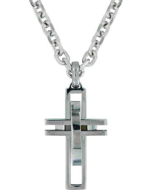 Montana Silversmiths Modern Art Cross Necklace , Silver, hi-res