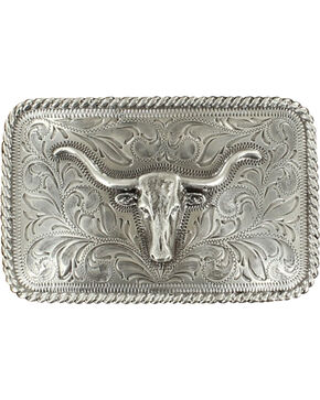 M&F Western Longhorn Filigree Belt Buckle, Silver, hi-res