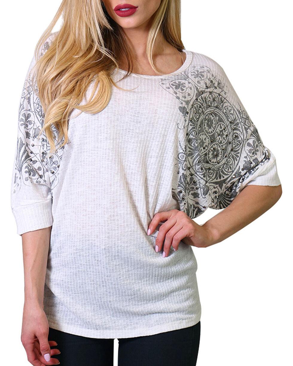 Lawman Women's Plus Rhinestone Short Sleeve Shirt , Ivory, hi-res