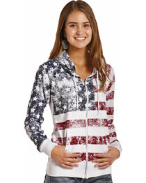 Rock & Roll Cowgirl Women's American Flag Zip Hoodie , , hi-res