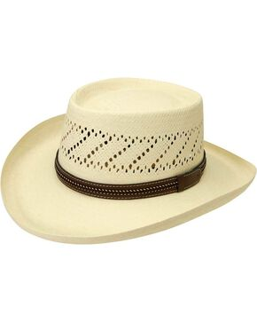 Black Creek Gambler Straw Hat, Ivory, hi-res