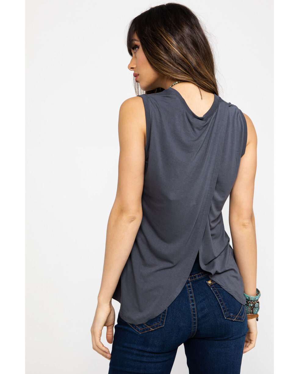 Z Supply Women's Charcoal Wild As Whiskey Muscle Tee , Charcoal, hi-res