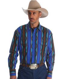 Wrangler Men's Blue Checotah Vertical Stripe Western Shirt , , hi-res