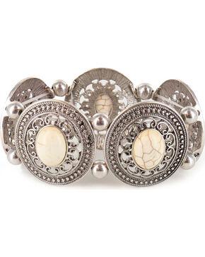 Shyanne® Women's Engraved Bone Stretch Bracelet, Silver, hi-res