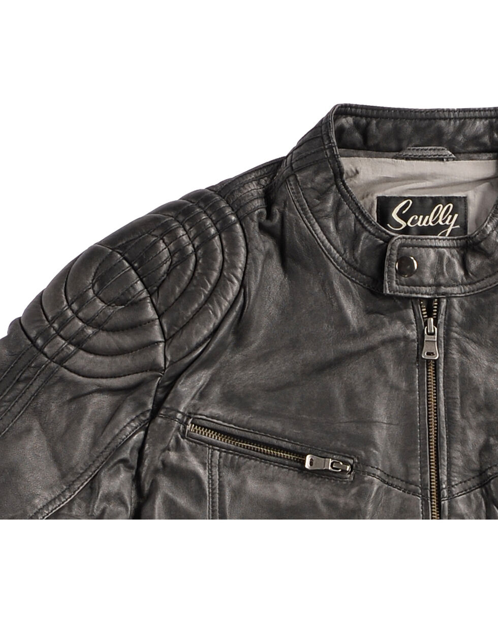 Scully Men's Black Motorcycle Leather Jacket , Black, hi-res