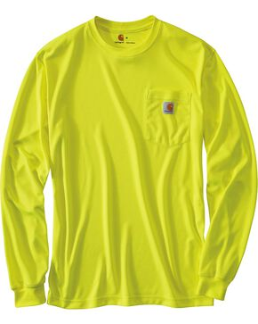 Carhartt Men's Long Sleeve Color Enhanced Force T-Shirt, Lime, hi-res