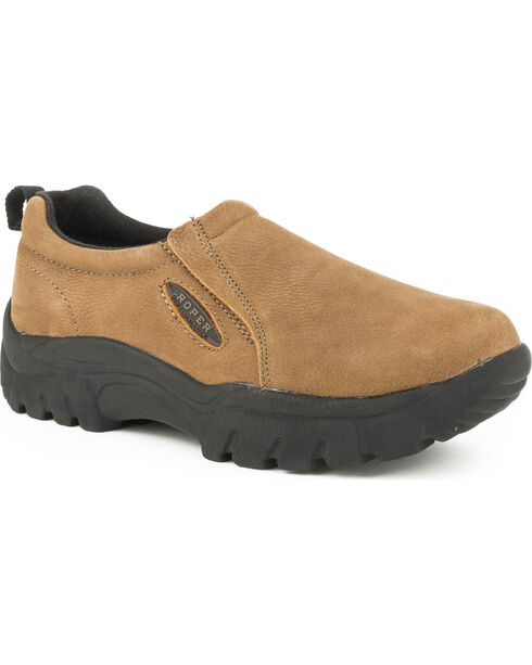 Roper Women's Leather Performance Sport Slip-On Casual Shoes, Tan, hi-res