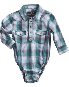 Cody James Infant Boys' Shotgun Rider Plaid Onesie, Blue, hi-res